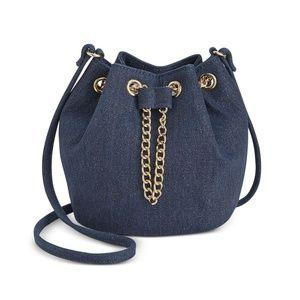 INC Pia Blue Twill Mini Crossbody Bucket Handbag
